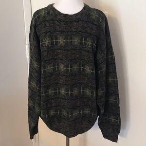 Men's Geoffrey Beene Plaid Crewneck Sweater Large